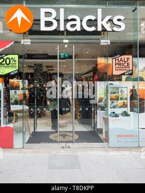 Entrance to Blacks Flagship store on Tottenham Court Road, London, UK - Stock Image
