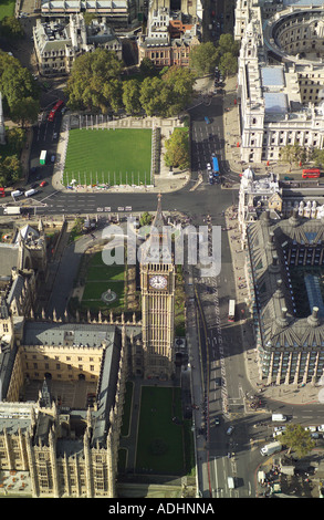 Aerial view of the Clock Tower which is at the northern end of the Houses of Parliament, which is also called Big Ben - Stock Image