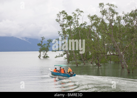 Tourists on boat, Bako National Park, Borneo - Stock Image