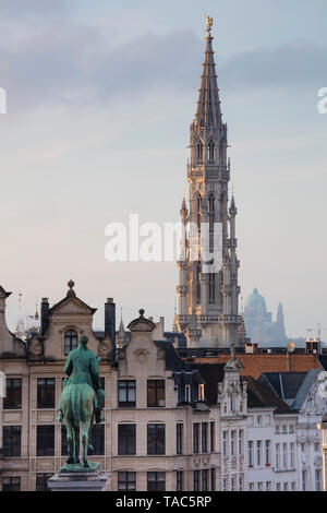 Belgium, Brussels, View from Mont des Arts, Townhall and lower city, Statue of Albert I of Belgium - Stock Image