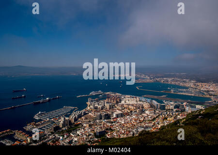GIBRALTAR / GREAT BRITAIN - OCTOBER 09 2017: VIEW FROM ROCK OF GIBRALTAR - Stock Image