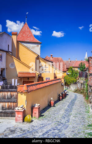 Sighisoara, Transylvania. Famous medieval fortified city built by Saxons in Romania. - Stock Image