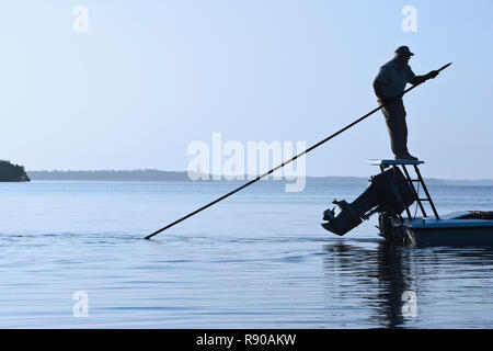 A fly fishing guide poling a flats skiff in search for tarpon and redfish along the coastline of south western Florida. - Stock Image