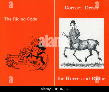 Correct Dress for Horse and Rider pamphlet by Moss Bros and The Riding Code with illustrations by Thelwell - Stock Image