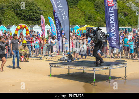 Bournemouth, UK. 31st August, 2018. Gravity Industries show of the 1000bhp roar of a Gravity Jet Suit at the Bournemouth Air Festival in Dorset. Thousands of spectators line the beaches and cliffs to see the free show. Credit: Thomas Faull/Alamy Live News - Stock Image