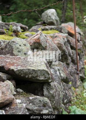 Stone fence pasture - Stock Image