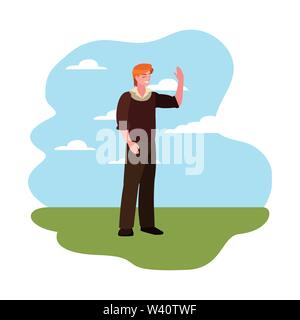 man character standing sky background vector illustration - Stock Image