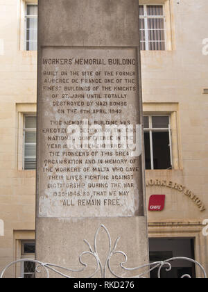 Workers memorial  obelisk in the centre of Valetta alta in remembrance of workers that were killed before and during WWII - Stock Image