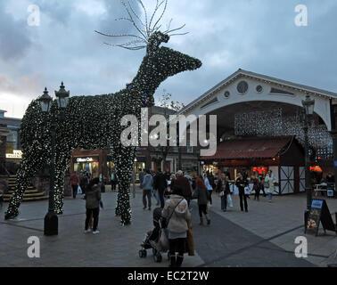 Christmas Decorations in Golden Square Warrington,Cheshire,England,UK - Stock Image