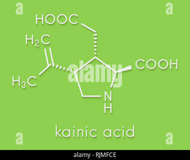 Kainic acid molecule. Direct agonist of the glutamic kainate receptors. Skeletal formula. - Stock Image