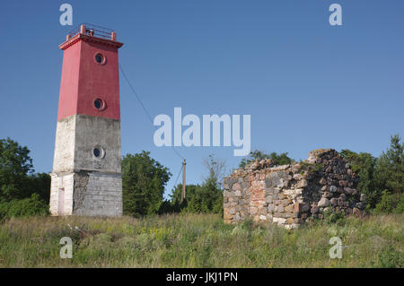 Virtsu lighthouse built 1924 with a height of 18 metres, and a diameter of 2.5 metres. Estonia 14th July 2017 - Stock Image