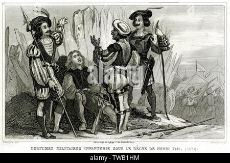 English soldiers during the reign of Henry VIII in relaxed conversation: they carry a crossbow, longbow, spears, a sword and a dagger      Date: circa 1530 - Stock Image