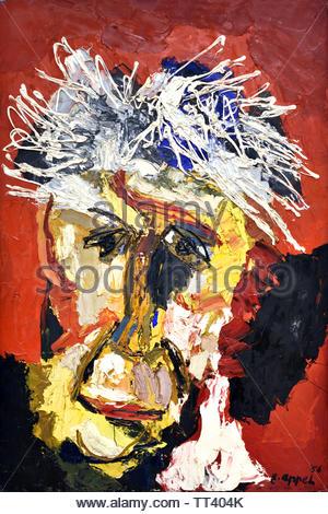 Portrait of Willem Sandberg ( by Karel Appel born in 1921 Dutch painter, (sculptor,  poet, Avant-garde movement Cobra), The, Netherlands. - Stock Image