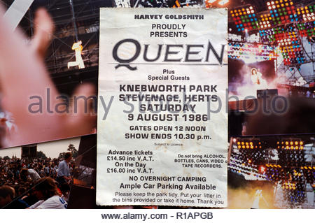 Concert ticket for rock/pop band Queen, for their Knebworth Park performance in August 1986. Knebworth, Stevenage, Herts., UK. - Stock Image
