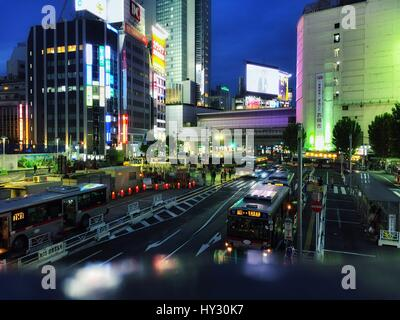 Traffic On City Street At Night - Stock Image