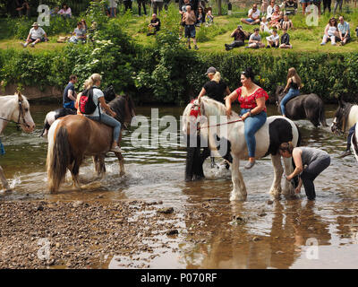 female travellers riding horses in the water after washing them in the River Eden, Appleby-in Westmorland at the crowded annual Appleby Horsefair, Cumbria, England UK, 8 June, 2018. horses gathering in the River Eden Credit: Steve Holroyd/Alamy Live News - Stock Image