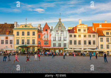 Tallinn Town Square, view on a  summer evening of the colorful Town Hall Square in the medieval Old Town quarter in Tallinn, Estonia. - Stock Image