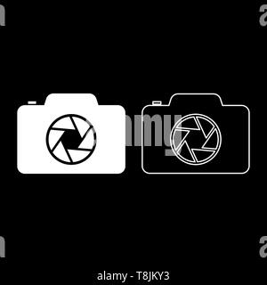 Camera with focus of lens concept icon outline set white color vector illustration flat style simple image - Stock Image