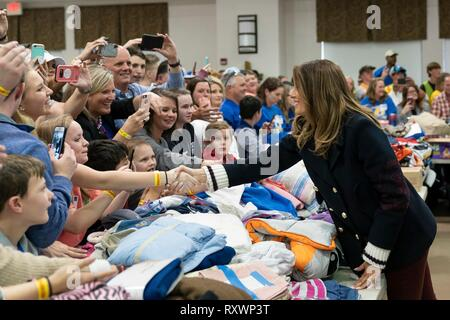 U.S First Lady Melania Trump meets with residents at the Providence Baptist Church relief center March 8, 2019 in Smiths Station, Alabama. The region was hit by a tornado on March 3rd killing 23 people. - Stock Image