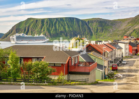 Cruise Ship Moored In The Harbour At Honningsvag, Norway - Stock Image