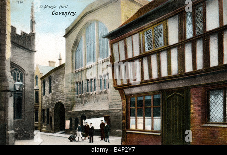 Old vintage Topographical British Picture Postcard of St Mary's Hall Coventry posted December 1903 FOR EDITORIAL - Stock Image