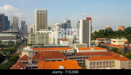 SMRT Corporation Ltd office buildings and Singapore skyline. - Stock Image
