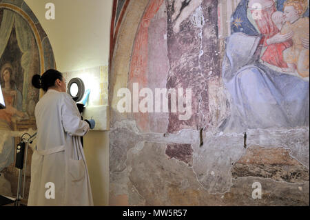 restorations of the frescos (16th century), on the right Madonna del Latte (14th century) in the deconsecrated church of Santa Marta, Rome, Italy - Stock Image