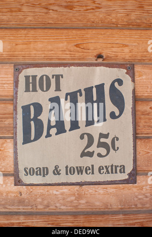 Sign for hot baths, roadside attraction in Davenport, Washington State, USA. - Stock Image