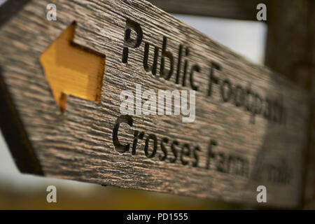 Walking Trail Sign, Lake District National Park, Cumbria, England, Great Britain - Stock Image