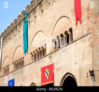 Flags and architecture, Rimini, Emilia-Romagna, Italy - Stock Image