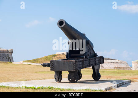 Old rusted cannon part of a display at Morro Castle in Havana Cuba. - Stock Image