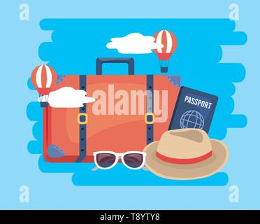 air balloons with travel baggage and passport vector illustration - Stock Image