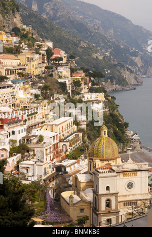View of Positano with its Duomo and the Amalfi Coast in the background, Campania, Italy. - Stock Image