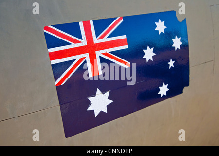 Australian flag.  Airforce and Space display. South Australia. - Stock Image