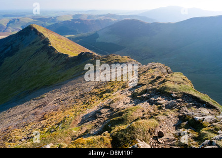 Looking towards Ladyside Pike from the summit of Hopegill Head at sunrise in the Lake District - Stock Image