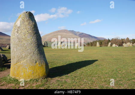 Looking towards Blencathra from Castlerigg Stone Circle in the English Lake District, Cumbria. - Stock Image