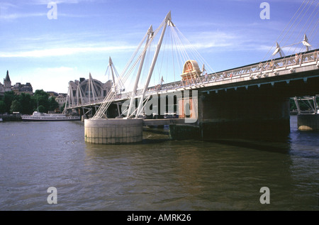 Hungerford footbridge London - Stock Image