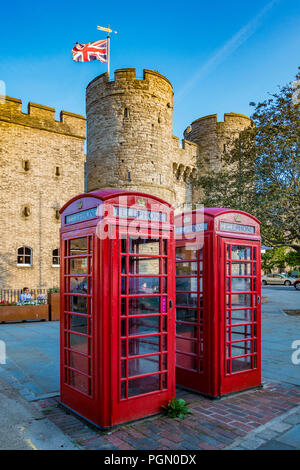 Red Telephone Box,Westgate Towers,Canterbury,Kent,England - Stock Image