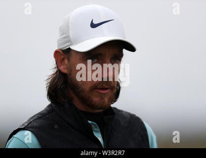 Portrush, County Antrim, Northern Ireland. 17th July 2019. The 148th Open Golf Championship, Royal Portrush Golf Club, Practice day ; Tommy Fleetwood (ENG) walks from the 14th tee Credit: Action Plus Sports Images/Alamy Live News - Stock Image