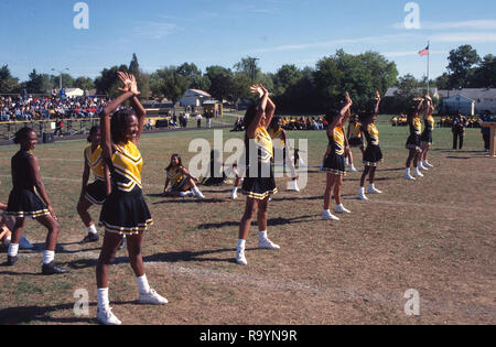 High school cheerleaders practing, their moves l, - Stock Image