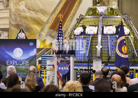 NASA Administrator Jim Bridenstine, standing in front of the new Orion crew capsule, addresses employees on progress toward sending astronauts to the Moon and on to Mars during a televised event at the Kennedy Space Center March 11, 2019 in Cape Canaveral, Florida. - Stock Image