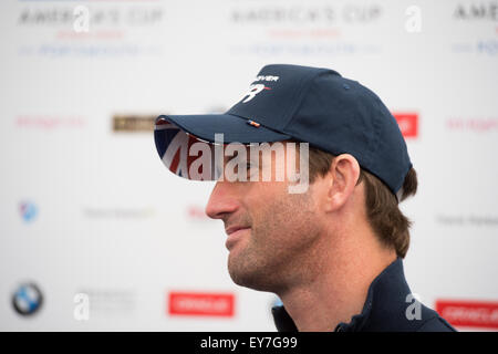 Portsmouth, UK. 23rd July 2015. Sir Ben Ainslee skipper of Land Rover BAR the UK challenger during the skippers - Stock Image