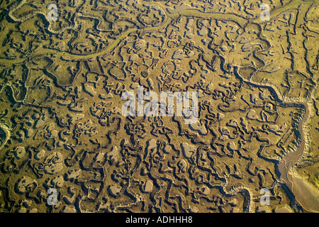 Aerial view of Chetney Marshes in the River Medway in Kent - Stock Image