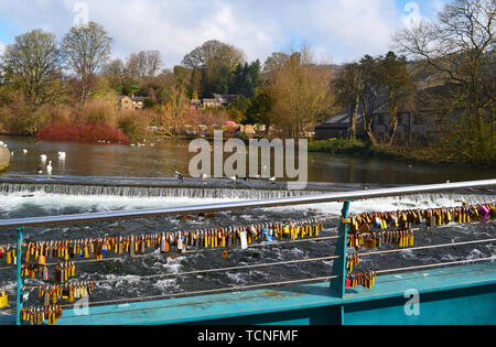 Padlocks locked to a bridge over the River Wye, Bakewell, Derbyshire, UK - Stock Image