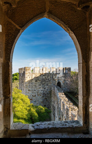 Tower, Sao Jorge Castle, Lisbon, Portugal - Stock Image