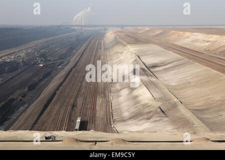 Open-pit coal mining Janschwalde near Cottbus, Lower Lusatia, Brandenburg, Germany. Huge open-pit coal mining by - Stock Image