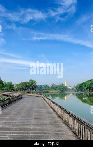 Kandawgyi Lake or also called as Royal Lake is one of the most beautiful attractions at sunset or sunrise in Yangon, Myanmar (Burma) - Stock Image