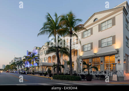 Betsy Ross Hotel and BLT Steak Restaurant in the early dawn light along Deco Drive in Miami's South Beach, Florida, - Stock Image