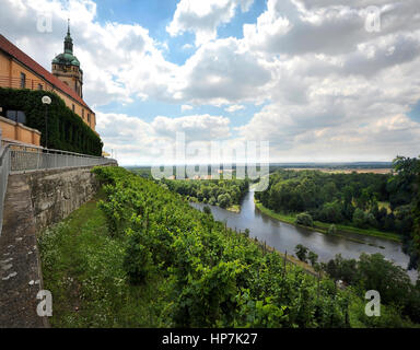 Melnik, Czech Republic -  View of the castle with vineyard and confluence of Labe and Vltava rivers - Stock Image