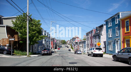 June 23, 2018- St. Johns, Newfoundland: Residences and colorful homes along Gower Street where it intersects with Pilot's Hill - Stock Image